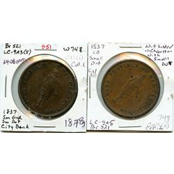 Lot of two Breton 521, 1837 City Bank, One Penny Tokens.