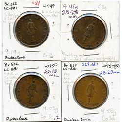 Lot of four Breton 522, 1837 Quebec Bank, Half Penny Tokens.