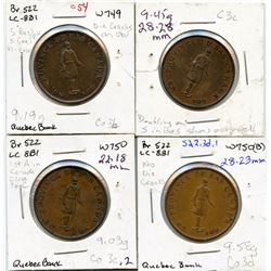 Lot of four Breton 522, 1837 Quebec Bank, Half Penny Tokens.