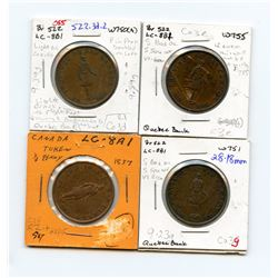 Lot of four 522, 1837 Quebec Bank, Half Penny Tokens.
