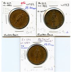 Lot of three Breton 522, 1837 Quebec Bank, Half Penny Tokens.