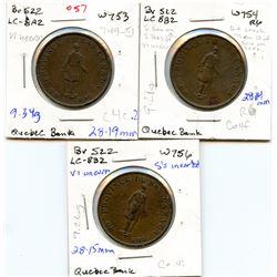 Lot of three Breton 522, 1837 Quebec Bank, Half Penny Tokens.