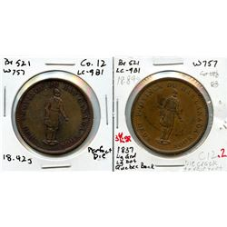 Lot of two Breton 521, 1837 Quebec Bank, One Penny Tokens.