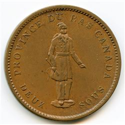 Br. 521, 1837 Quebec Bank, One Penny Token.