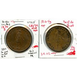 Lot of two Breton 521, 1837 Banque du Peuple, One Penny Tokens.