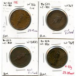 Lot of four Breton 522, 1837 Bank of Montreal, Half Penny Tokens.