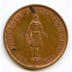 Breton 522, 1837 Bank of Montreal, Half Penny Token.