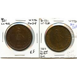 Lot of two Breton 521, 1837 Bank of Montreal, One Penny Tokens.