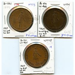 Lot of three Breton 521, 1837 Bank of Montreal, One Penny Tokens.
