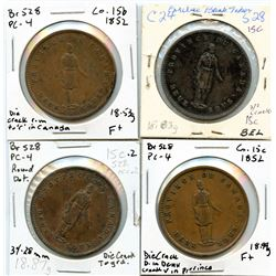 Lot of four Breton 528, 1852 Quebec Bank, One Penny Tokens.