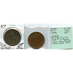 Lot of two Breton 528, 1852 Quebec Bank, One Penny Tokens.