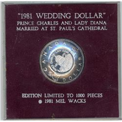 "H. Don Allen Collection - 1981 Silver Dollar, Counterstamped ""Wedding Dollar"""