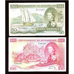 Seychelles 50 & 100 Rupees Pair