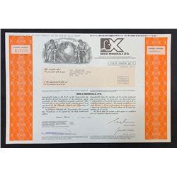 BRE-X Minerals Stock Certificate