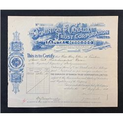 Dominion of Canada Trust Corporation Limited 40 Shares, 1910