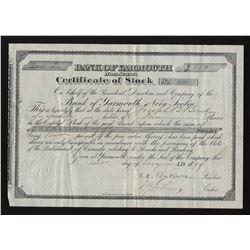 Bank of Yarmouth, Nova Scotia Stock Certificate, 21 August 1899