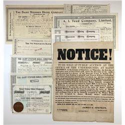 Ephemera Lot of 10 New Brunswick Stock Certificates, Receipts