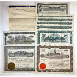 Ephemera Lot of 10 Stock Certificates, Receipts, etc