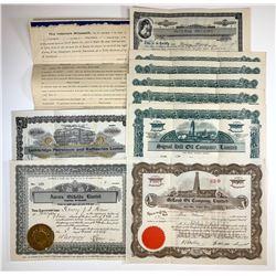 Ephemera Lot of 10 Stock Certificates, Receipts, etc