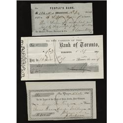 H. Don Allen Collection - Three Early Canadian Cheques
