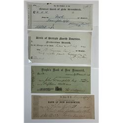 H. Don Allen Collection - A Quartet of Early New Brunswick Cheques