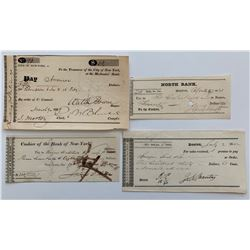 H. Don Allen Collection - Four Early United States Cheques