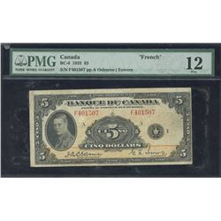 Bank of Canada $5, 1935 - French Issue