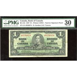 Bank of Canada $1, 1937 - Narrow Signature Panel