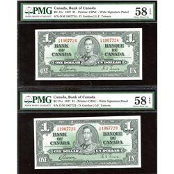 Bank of Canada $1, 1937 - Lot of 2 Consecutive Notes