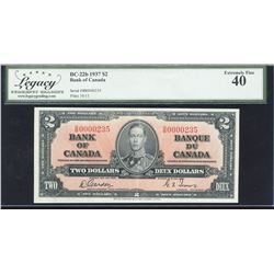 Bank of Canada $2, 1937 Low Serial Number