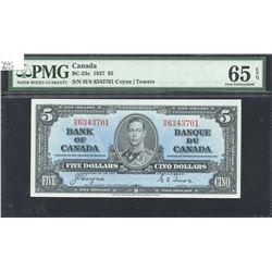 Bank of Canada $5, 1937 Transitional Prefix
