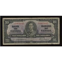 Bank of Canada $10, 1937 - Osborne Signature