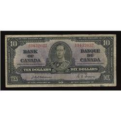 Bank of Canada $10, 1937 - Osborne Signature