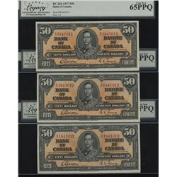 Bank of Canada $50, 1937 - Lot of 3 Consecutive Serial Numbers
