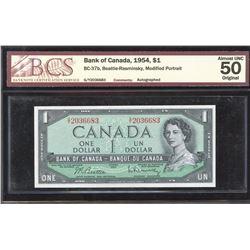 Bank of Canada $1, 1954 Numismatic Short Snorter