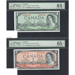 Bank of Canada $1 & $2, 1954 Devil's Face with Matching Low Serial Numbers