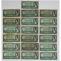 Bank of Canada 1954 $1 Replacement Lot