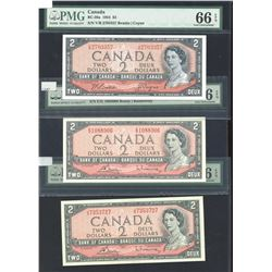 Bank of Canada $2, 1954 - Lot of 3 PMG Graded Notes