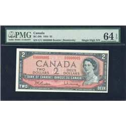Bank of Canada $2, 1954 - Low Serial Number