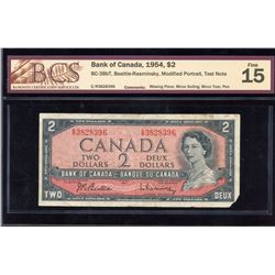 Bank of Canada $2, 1954 - Rare Test Note