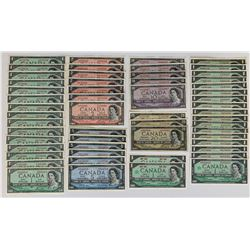 1954 & 1967 Bank of Canada Wholesale Lot of 55 Banknotes