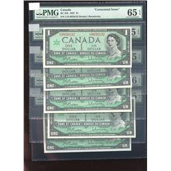 Bank of Canada $1, 1967 - Lot of 5 Consecutive Notes