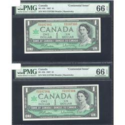 Bank of Canada $1, 1967 - Lot of 2 Consecutive Notes