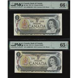 Bank of Canada $1, 1973 - Lot of 2 Birth Year Notes