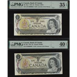 Bank of Canada $1, 1973 - Lot of 2 Low Serial Numbered Notes