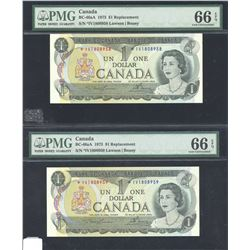 Bank of Canada $1, 1973 - 2 Consecutive Replacement Notes