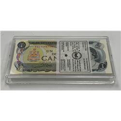 Bank of Canada $1, 1973 - Lot of 100 Consecutives