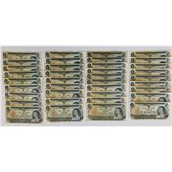 Bank of Canada 1973 $1 Replacement Lot including prefix, *AA, *AL, *AN, *FA, *FG, *FV, *GF, *GL, *GU