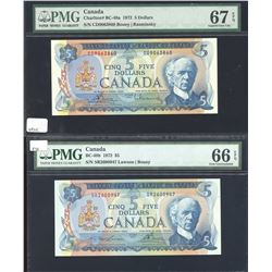 Bank of Canada $5, 1972 - Pair of PMG Graded Notes