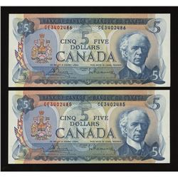 Bank of Canada $5, 1972 - Lot of 2 Consecutive Notes
